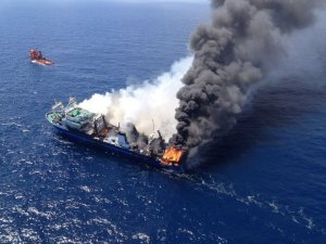 Russian Trawler Burning for Days off Canary Islands