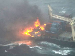 Hanjin containership on fire
