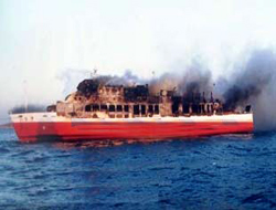 "The ""Highspeed 5"" on fire"