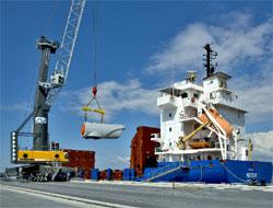 Tanker waits at berth