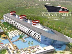Queen Elizabeth anchors in Kemer