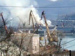 Russian fish factory vessel Gutsul caught fire in Nakhodka shipyard