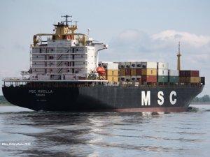 Container ship MSC Mirella adrift off Milos Island in Greece