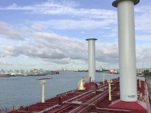 Two Wind-Power Rotor Sails Installed on LR2 Tanker