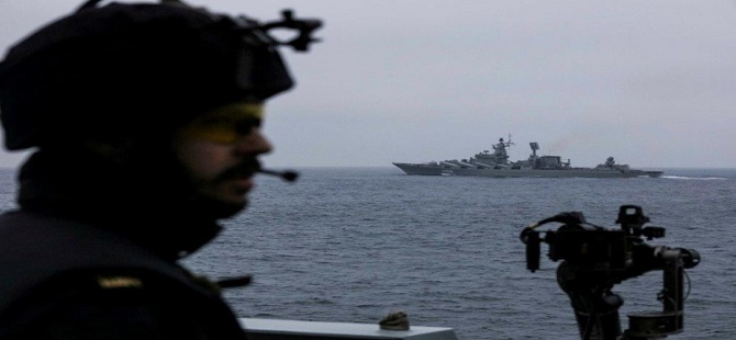 Russian Cruiser Escorted Through English Channel