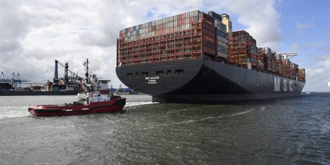MSC Gülsün arrives at the Port of Rotterdam