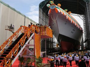 MDL Launches Indian Navy's First P-17A-Class Frigate INS Nilgiri