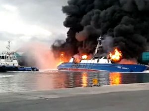 One more fishing vessel on fire capsized in port