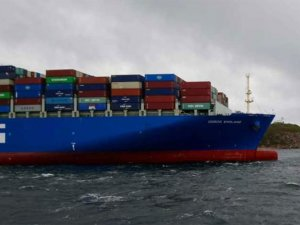 Mega container ship aground, Vladivostok, Russia, Japan sea