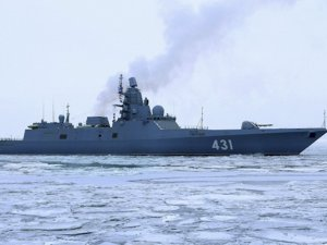 Russian Navy's Admiral Kasatonov frigate trains with aviation in White Sea