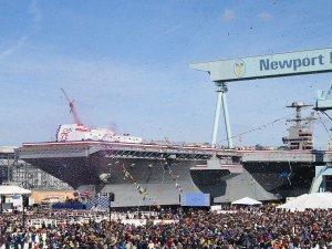 U.S. Navy USS John F. Kennedy CVN 79 Gerald R. Ford-class aircraft carrier was christened on 7 December 2019