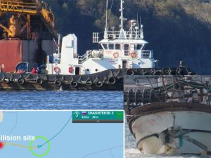 Korean fishing vessel severely damaged in collision with Russian tug