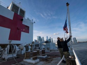 Navy hospital ship Comfort offloads few remaining patients before NYC exit