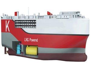 K Line's new car carrier gets LNG fuel tanks