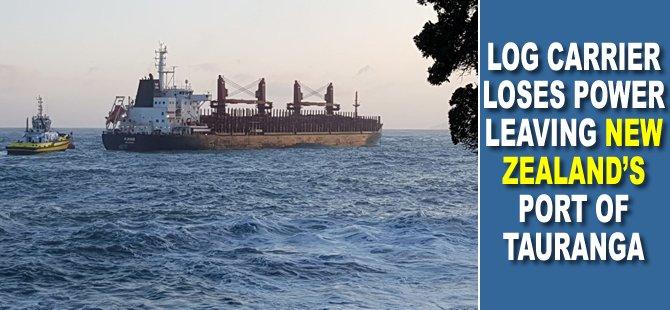 Log Carrier Loses Power Leaving New Zealand's Port of Tauranga