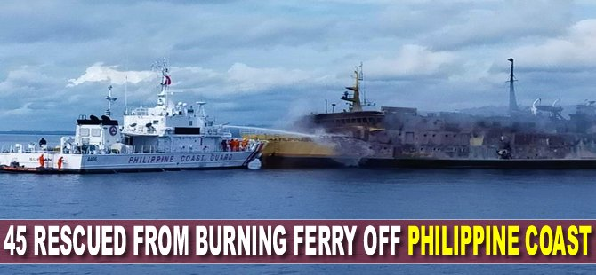 45 rescued from burning ferry off Philippine coast