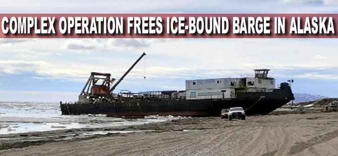Complex Operation Frees Ice-Bound Barge in Alaska