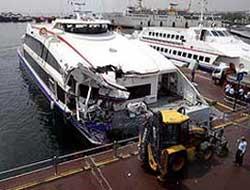 Ferry slams into cargo vessel