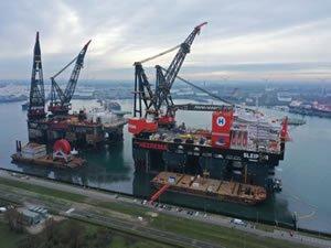Heerema crane vessel titans meet in Port of Rotterdam