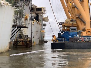 Second Section Cut in Golden Ray Wreck Removal