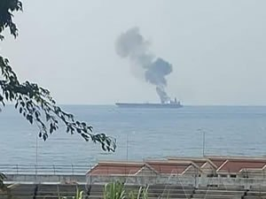 Fire extinguished on oil tanker off Syria after suspected drone attack ,UPDATE
