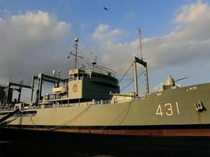 Iranian Navy supply tanker on fire, crew evacuated