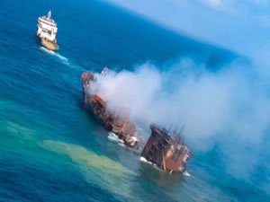 Charred remains of the X-Press Pearl sinking off Colombo