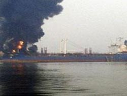 Oil tanker on fire at Nigerian port