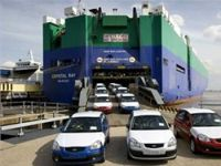 Car carrier on sea trial collides