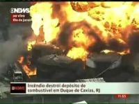 Storage Tank Ablaze near Port of Santos, Brazil