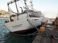 Korean Vessel Listing after Fire at Port of Cape Town