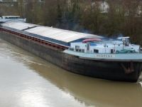 River cargo ship Mabrena sinking after water ingress at Rhine near Dusseldorf