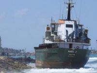 General cargo ship Nabil J washed ashore on Sidon's beach in Lebanon