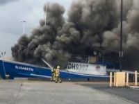 Fishing vessel Elizabeth caught fire at Honolulu Harbor in Hawaii, USA