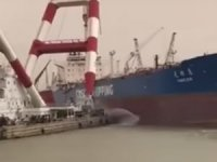 Tanker's Hull Punctured by Floating Crane in Iraq