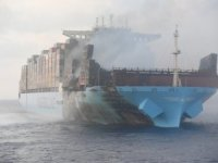 Fire-Ravaged Maersk Honam Nearing Anchorage Outside Jebel Ali Port