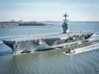 Giant Aircraft Carrier Hull Section Lifted into Place