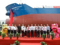 Singapore's first LNG-powered bunker tanker christened at Keppel's China yard