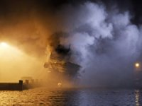Blaze rages on Russian trawler in northern Norway