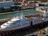 Spotted: Windstar Cruises' Star Breeze Cut in Half for Stretch Treatment