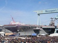 U.S. Navy USS John F. Kennedy CVN 79 Gerald R. Ford-class aircraft carrier was christened on 7 December 2019