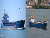 Two cargo ships pushed on embankment, one capsized, Tuzla