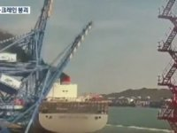 Watch: ULCV Crashes into a Crane at Busan Port