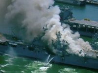 Amphibious Assault Ship USS Bonhomme Richard Is On Fire At Naval Base San Diego