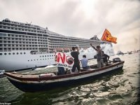 """""""No Big Ships"""" Protesters Try To Block Cruise Ship Departure"""